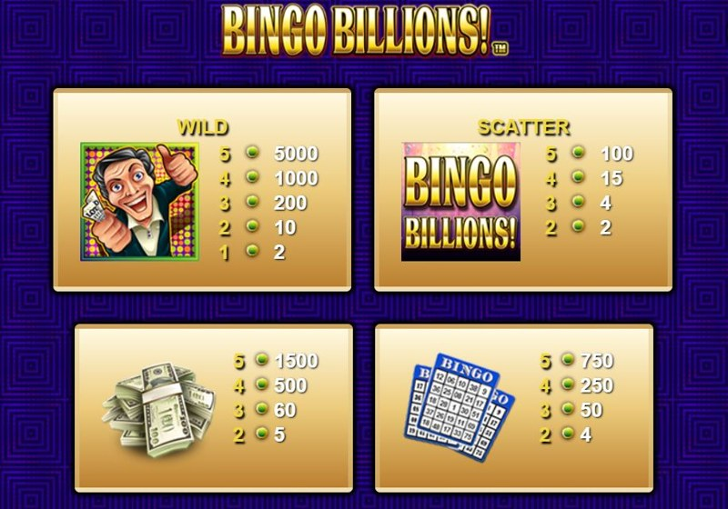 Bingo Billions Paytable
