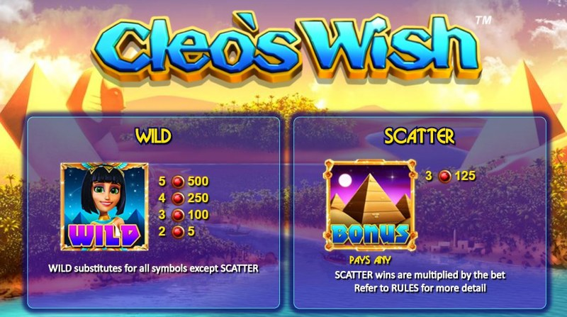Cleo's Wish Paytable