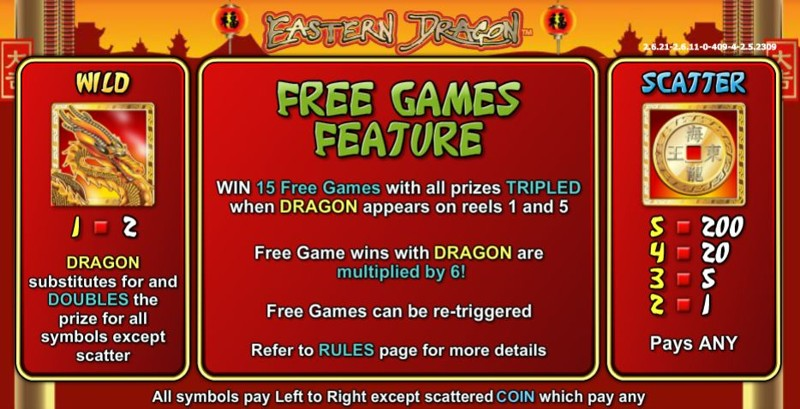 Eastern Dragon Paytable