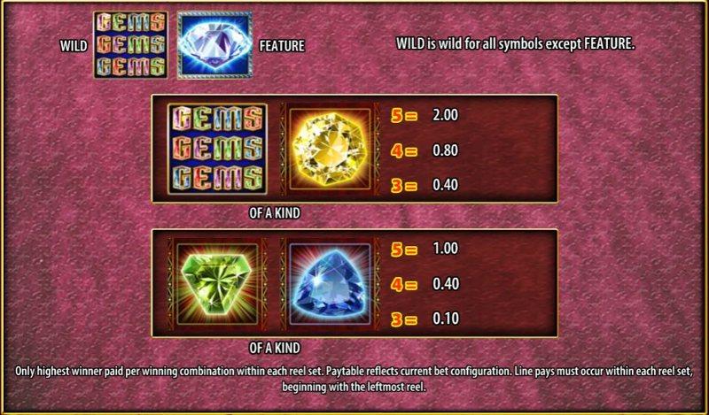 Gems Gems Gems Paytable