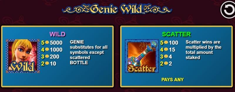 Genie Wild Paytable
