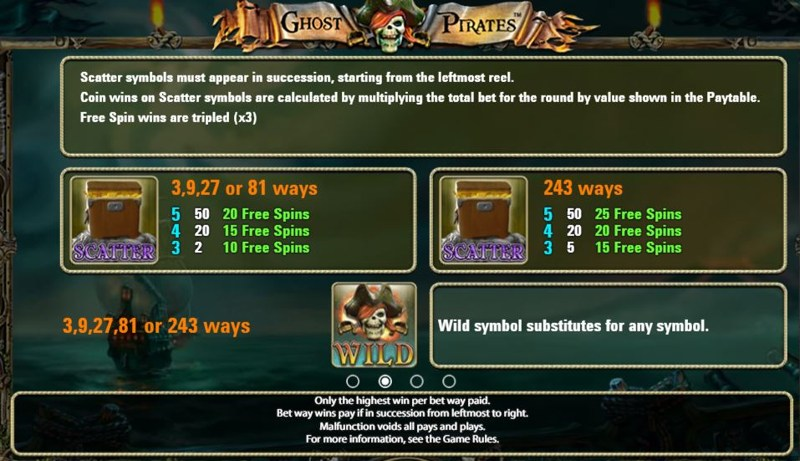 Ghost Pirates Paytable