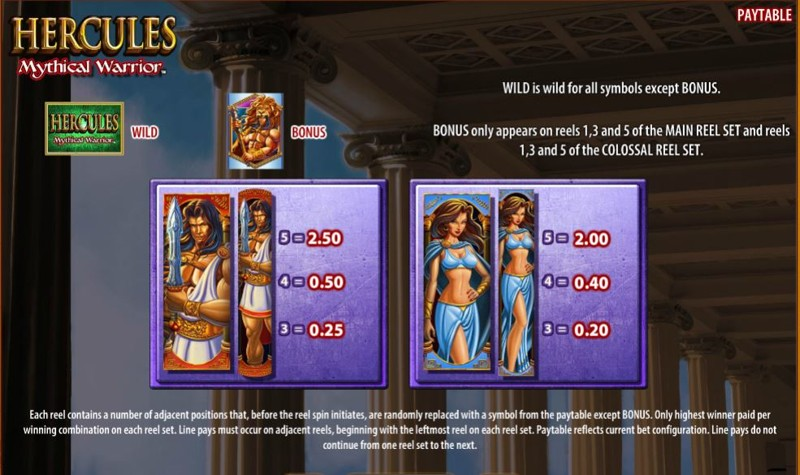 Hercules: Mythical Warrior Paytable