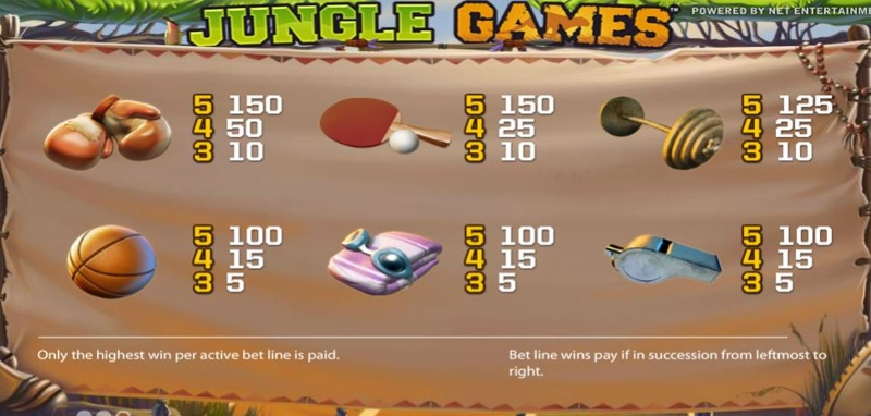 Jungle Games Paytable