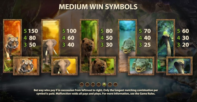Jungle Spirit: Call of the Wild Paytable