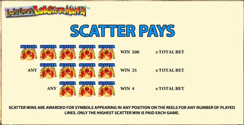 LobsterMania Paytable