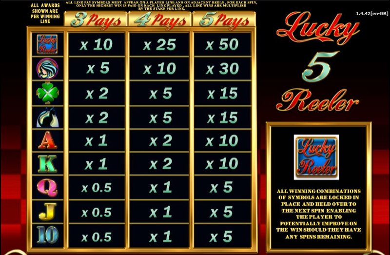 Lucky 5 Reeler Paytable