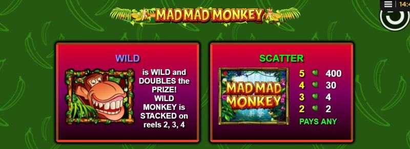 Mad Mad Monkey Paytable