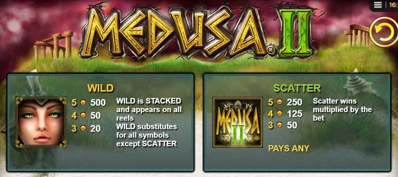 Medusa II Paytable
