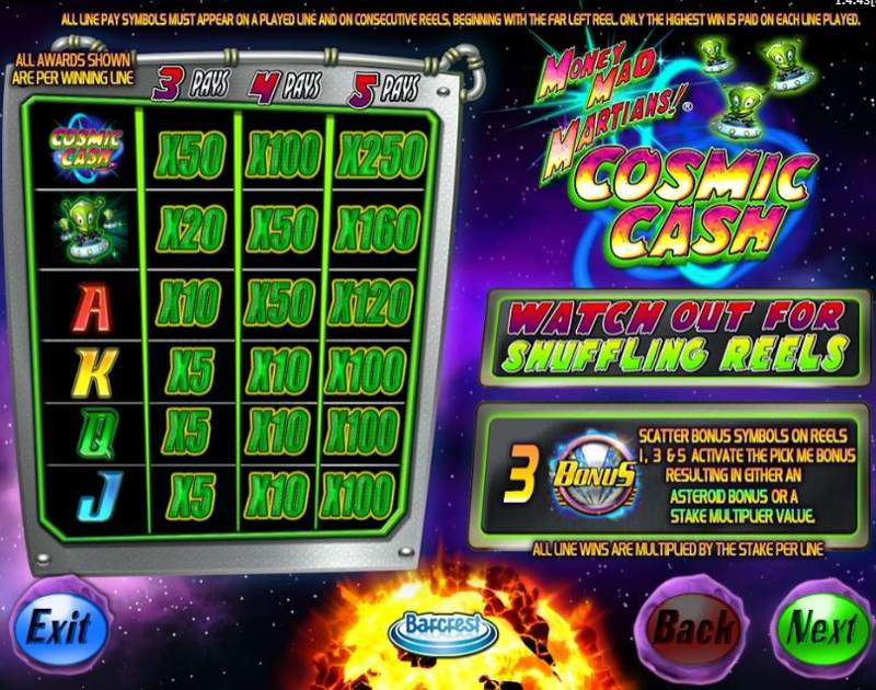 Money Mad Martians Cosmic Cash Paytable