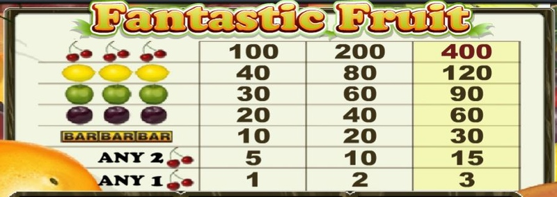 Fantastic Fruit Paytable
