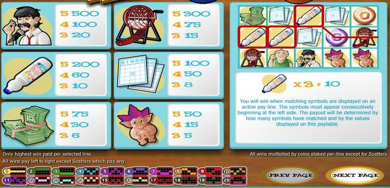 Five Reel Bingo Paytable