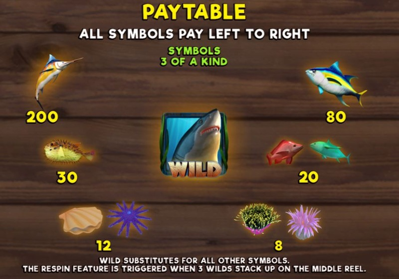 Scuba Fishing Paytable