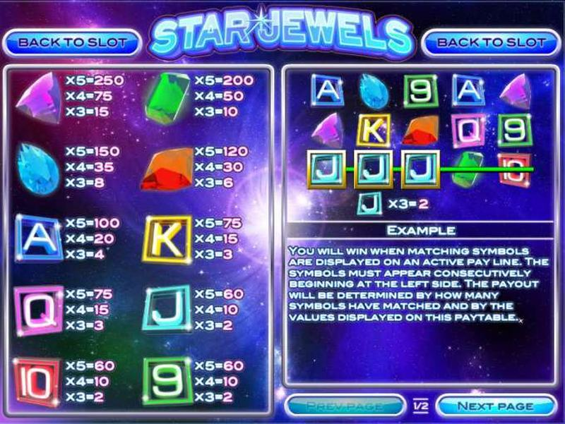 Star Jewels Paytable