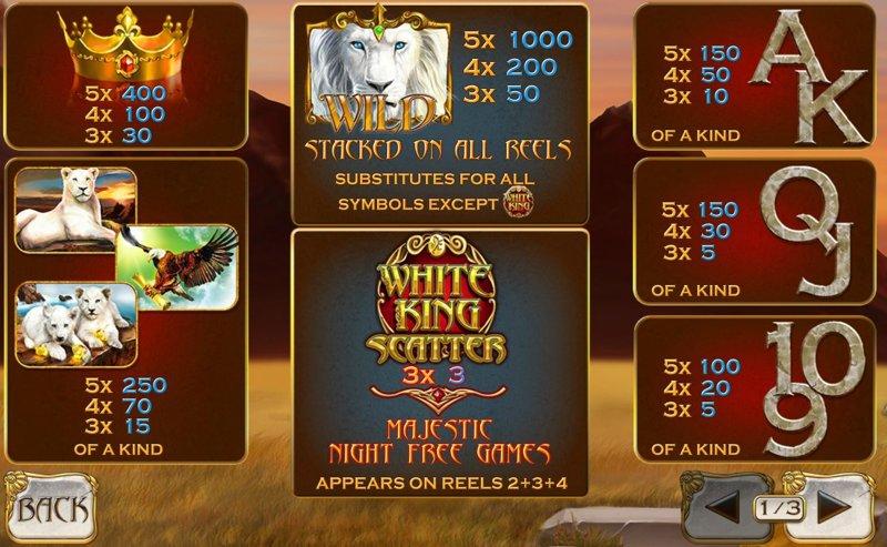 White King Paytable